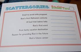 from dahlias to doxies baby shower game scattergories