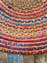 Round Woven Rugs Second Nature Braided Cotton Jute Multi Coloured Round Chindi Rag