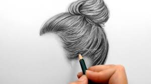 sketches of hair drawing and shading a realistic hair bun with graphite pencils