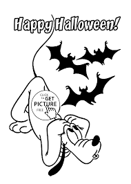 halloween and pluto coloring page for kids printable free