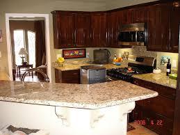 Kitchen Countertops And Backsplash Ideas Granite Countertop Cinnamon Shaker Kitchen Cabinets Mid Century