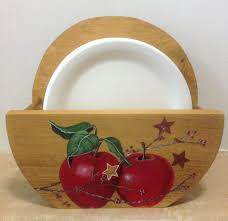 paper plate holder apple decor country decor apple kitchen