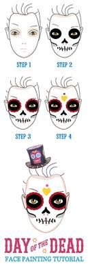 day of the dead free skull face paint tutorial dia muertos