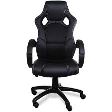 Computer Swivel Chair by Deuba Black Office Desk Pu Leather Computer Racing Gaming Swivel