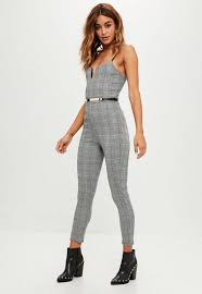 belted jumpsuit grey check belted jumpsuit missguided