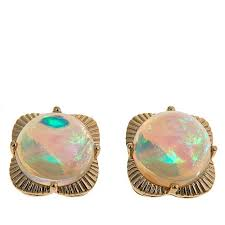 stud gold 14k yellow gold opal scalloped edge stud earrings