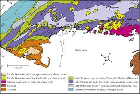 Geological Map Of Usa by Development Of The Norumbega Fault System In Mid Paleozoic New