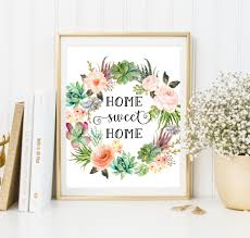 Floral Prints by Floral Print Home Sweet Home Print Watercolor Art Succulent