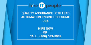 Qtp 2 Years Experience Resume Quality Assurance Qtp Lead Automation Engineer Resume Hire It