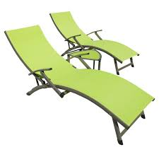 Outdoor Chaise Lounge Sofa by Rst Brands Sol Sling 3 Piece Green Patio Chaise Lounge Set Op