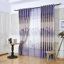 Purple Floral Curtains Purple Floral Print Polyester Window Curtains For Bedroom