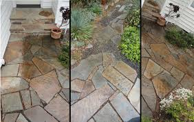 Slate Rock Patio by Smooth Tight Flagstone Pathway