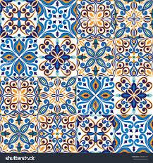 seamless tile background blue white orange arabic indian