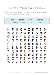 free worksheets words with z for kindergarten free math