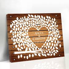 heart guest book wedding canvas guest book wood framed leaf tree with birds and