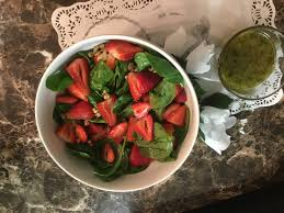spinach and strawberry salad with poppy seeds dressing by