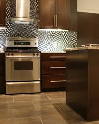 Porcelain Tile For Kitchen Floor Contempo Kitchen Backsplash Pebble Tile Installation At The Five