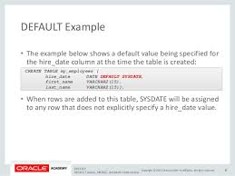 Oracle Create Table Example Default Values Merge And Multi Table Inserts