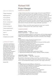 resume format for project manager the letter sample