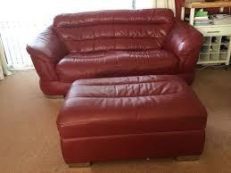 dark red leather sofa dark red leather sofa and footstool in kendal cumbria gumtree