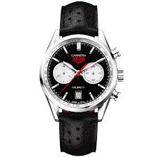 tag heuer carrera tag heuer carrera 41mm black silver dial men u0027s leather strap watch
