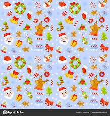 seamless pattern with cute cartoon christmas mittens candy cane