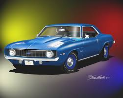 dusk blue camaro 1969 camaro ss z28 print poster by danny whitfield