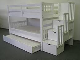 Bedz King Twin Over Twin Stairway Bunk Bed With Twin Trundle - White bunk beds uk