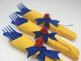 beauty and the beast party flatware rose themed party