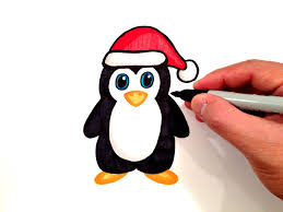 how to draw a penguin with a santa hat youtube