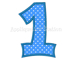 number one plain1st birthday applique machine embroidery