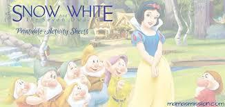 snow white dwarfs printable activity sheets