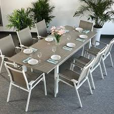 8 seat patio table garden table set virginia white chagne 8 person aluminium