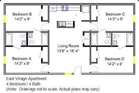 4 bedroom 2 bath floor plans house plans with bathroom in each bedroom bedroom house plans on