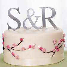 monogram cake toppers for weddings brushed metal monogram cake toppers wedding cake toppers