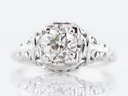 antique engagement ring art deco 79 old european cut diamond