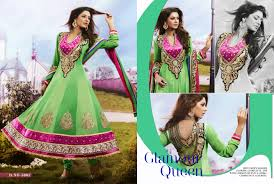 pista green anarkali suit