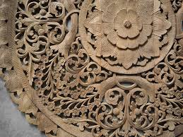 circle carved wooden wall buddhist flower panel siam sawadee