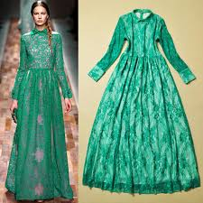 free shipping luxury brand turn down collar long sleeve green lace