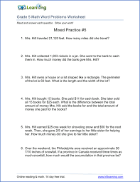 5th grade math problem solving 5th grade word problem worksheets free and printable k5 learning