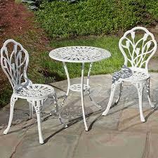 Aluminum Bistro Table And Chairs Tulipano Cast Aluminum Bistro Set