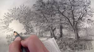 how to draw with charcoal pencils a landscape sketch
