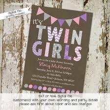 baby shower invitation twins purple gray katiedid designs