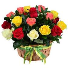 Multicolor Roses Basket With Multicolor Roses Greenery