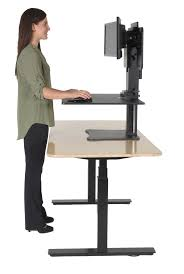 Sit Stand Desk Converter by Victor High Rise Dc350 Dual Monitor Sit Stand Desk Converter Black