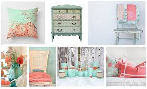 coral and turquoise color palette gallery with kitchen decor