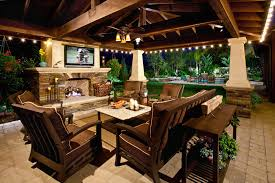 Outdoor Fireplace Patio Brown Outdoor Bistro With Mediterranean Tile Fireplace Patio