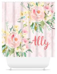 Monogram Shower Curtains Monogram Shower Curtain Pink Floral Sassy Southern Gals