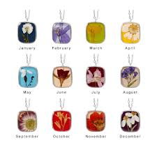 flower of the month club birth month flower necklace pressed flowers birth flowers