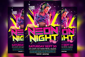 neon party neon party flyer template flyer templates creative market